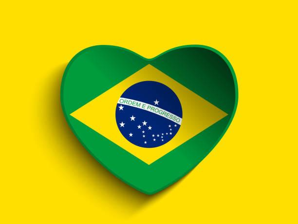 Coeur papier bouton drapeau du Brésil - Illustration vectorielle