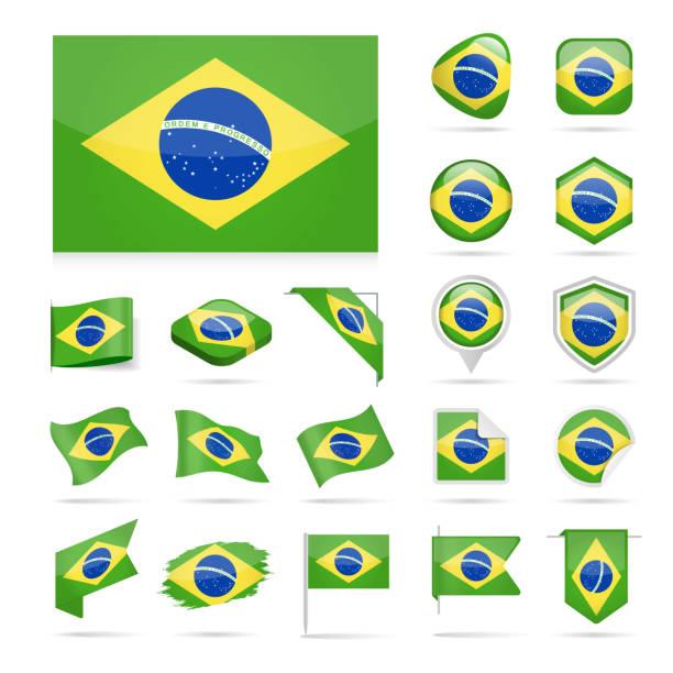 Brésil - Flag Icon Set Vector brillant - Illustration vectorielle