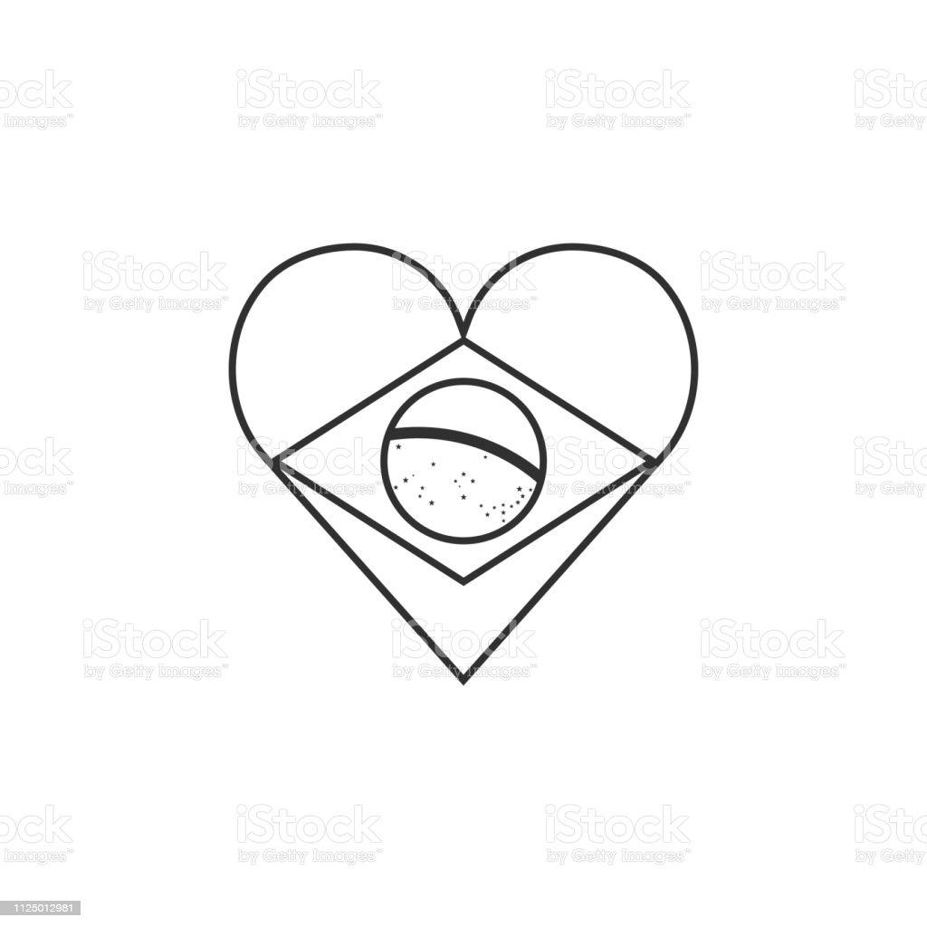 Brazil Flag Icon In A Heart Shape In Black Outline Flat ...