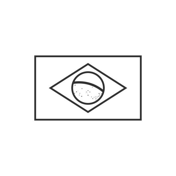 Brazil flag icon in black outline flat design vector art illustration