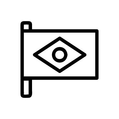 Brazil flag icon vector. Isolated contour symbol illustration