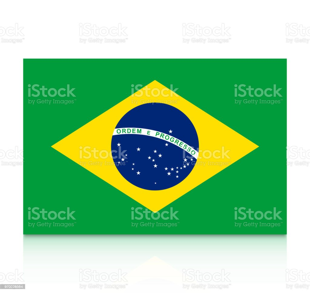 Brazil flag icon with reflection isolated on white background. vector art illustration