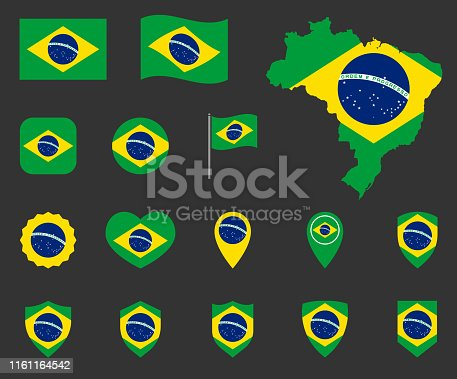 Brazil flag symbols set, national flag icons of Federative Republic of Brazil