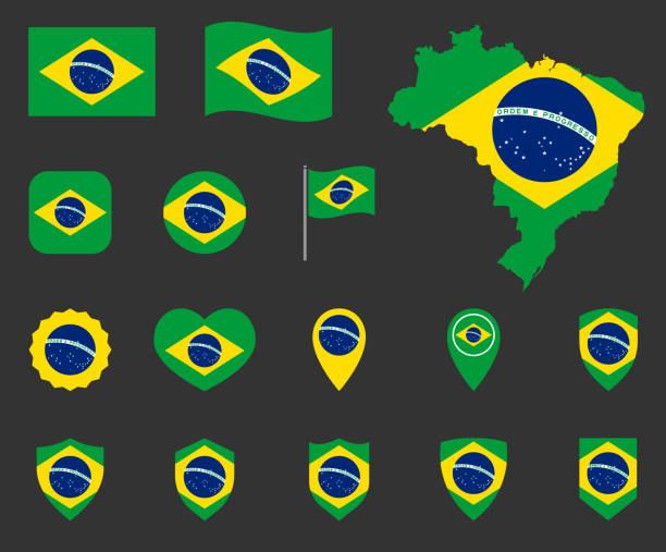 ilustrações, clipart, desenhos animados e ícones de ícones da bandeira de brasil ajustados, símbolos da bandeira da república federative de brasil - brazil