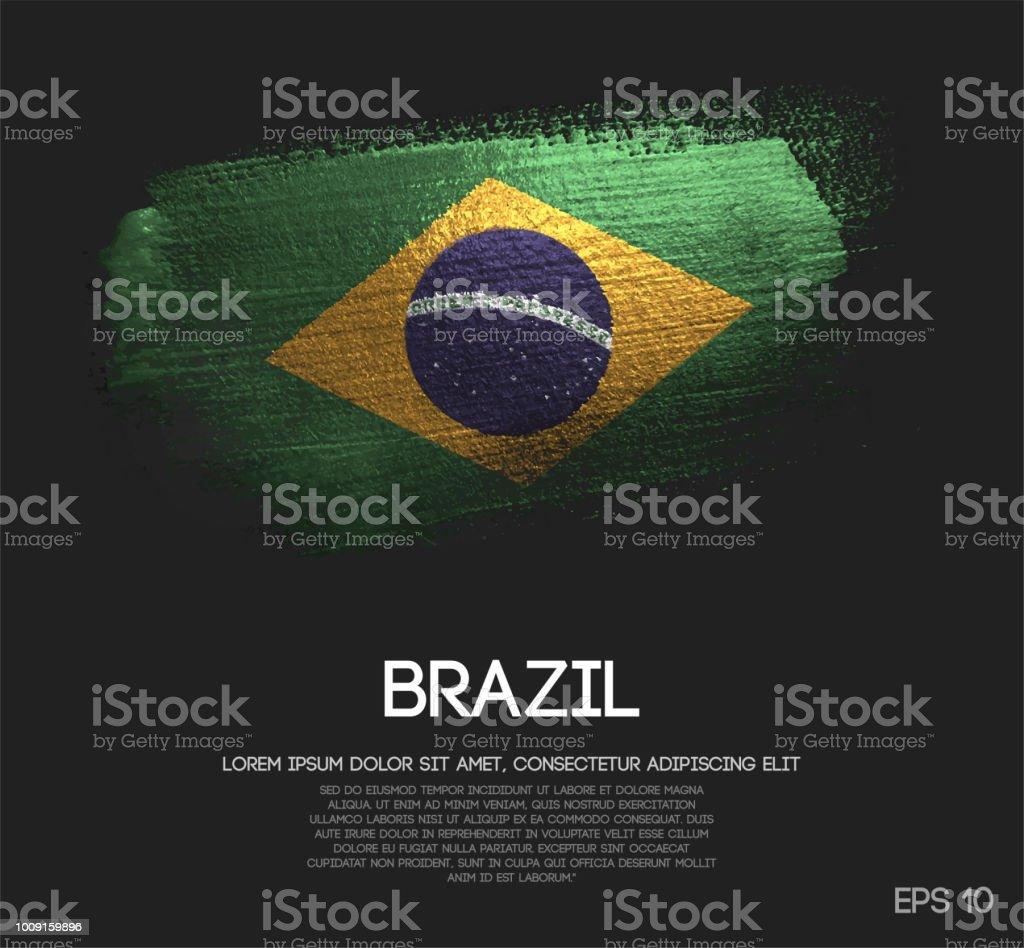 Brazil Flag Made of Glitter Sparkle Brush Paint Vector
