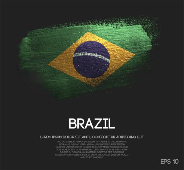 brasilien-flagge gemacht glitter glitzer pinsel farbe vektors - freiflächen stock-grafiken, -clipart, -cartoons und -symbole