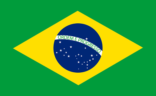 Brazil flag. Official brasil icon. National symbol of brasilia, samba and soccer. Brazilian background for country, rio de janeiro and world map. Emblem and badge for fabric. Vector