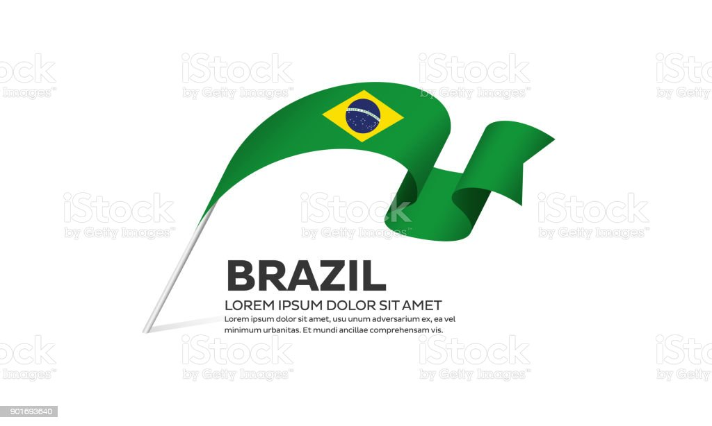 Brazil flag on a white background vector art illustration