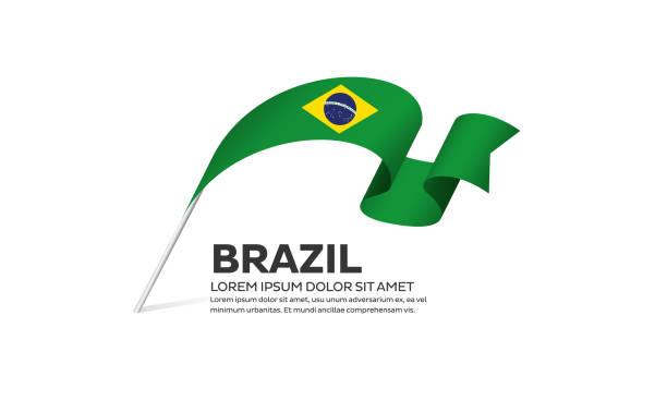 白色背景上的巴西國旗 - 獨立 幅插畫檔、美工圖案、卡通及圖標