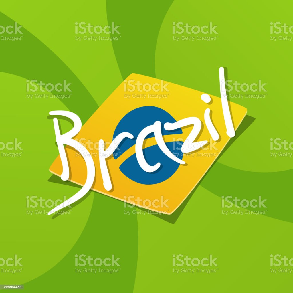 Brazil flag over green background vector art illustration