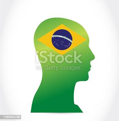 istock Brazil flag people head. illustration design 1285653790