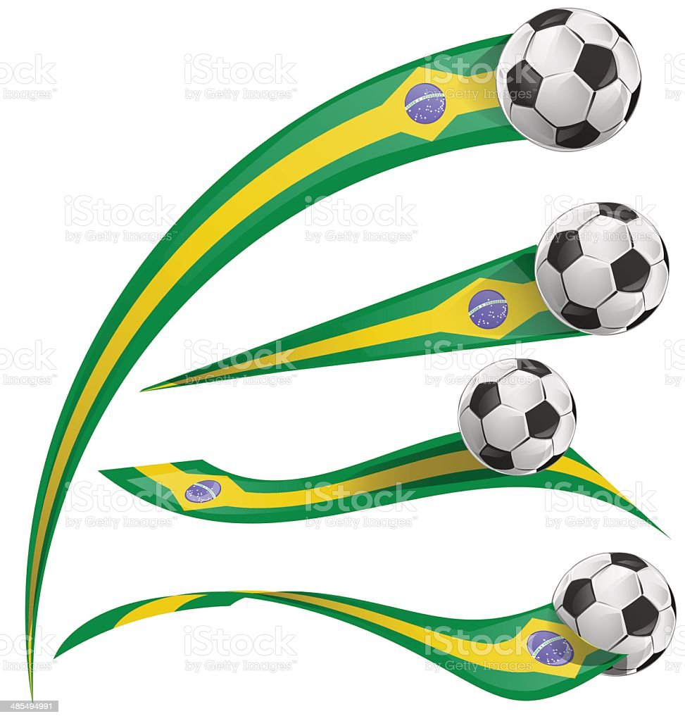 brazil flag set with soccer ball vector art illustration