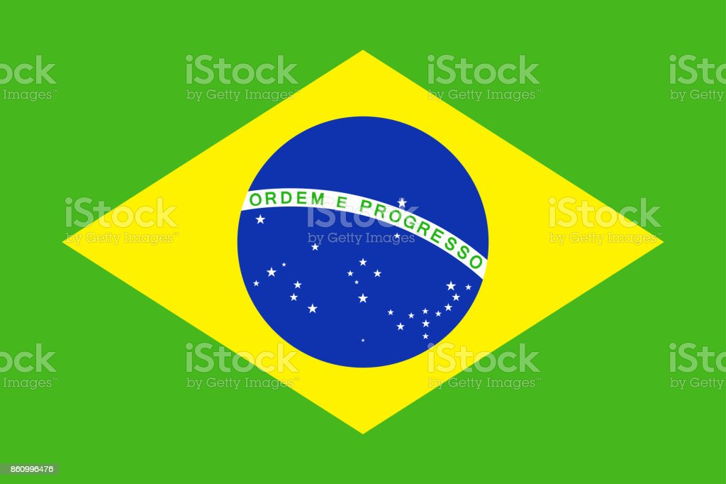 Brazil Flag Vector Flat Icon vector art illustration