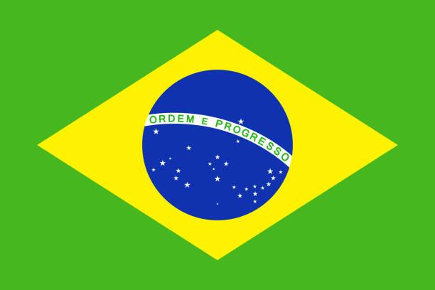 Icône plate du vecteur drapeau Brésil - Illustration vectorielle