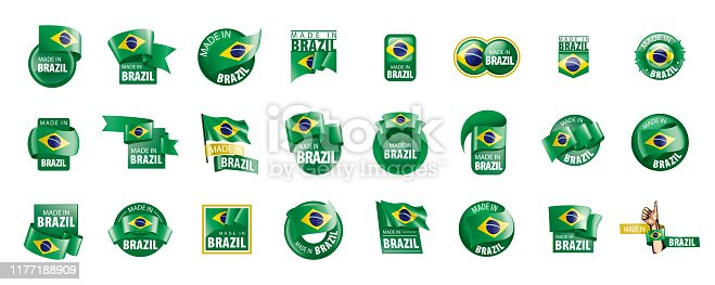 Brazil national flag, vector illustration on a white background