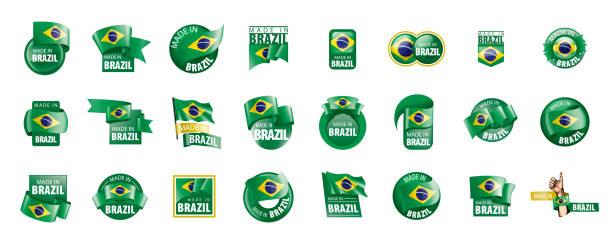 bildbanksillustrationer, clip art samt tecknat material och ikoner med brasilien flagga, vektor illustration på en vit bakgrund - brasilien flagga
