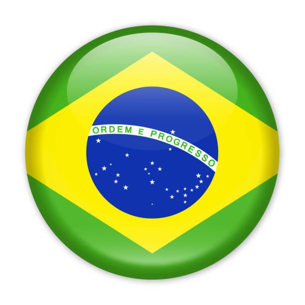 Drapeau du Brésil Vector Icon rond - Illustration vectorielle