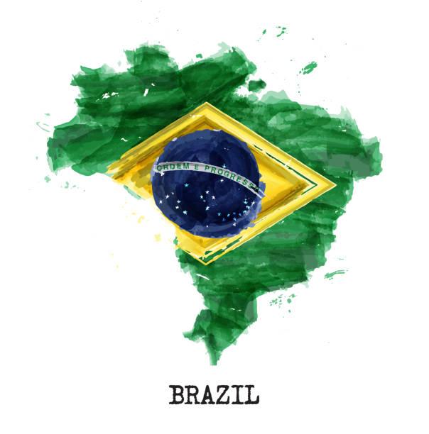 巴西國旗水彩畫設計。國家/地區地圖形狀。獨立日概念 (1822年9月7日)。向量。 - 獨立 幅插畫檔、美工圖案、卡通及圖標