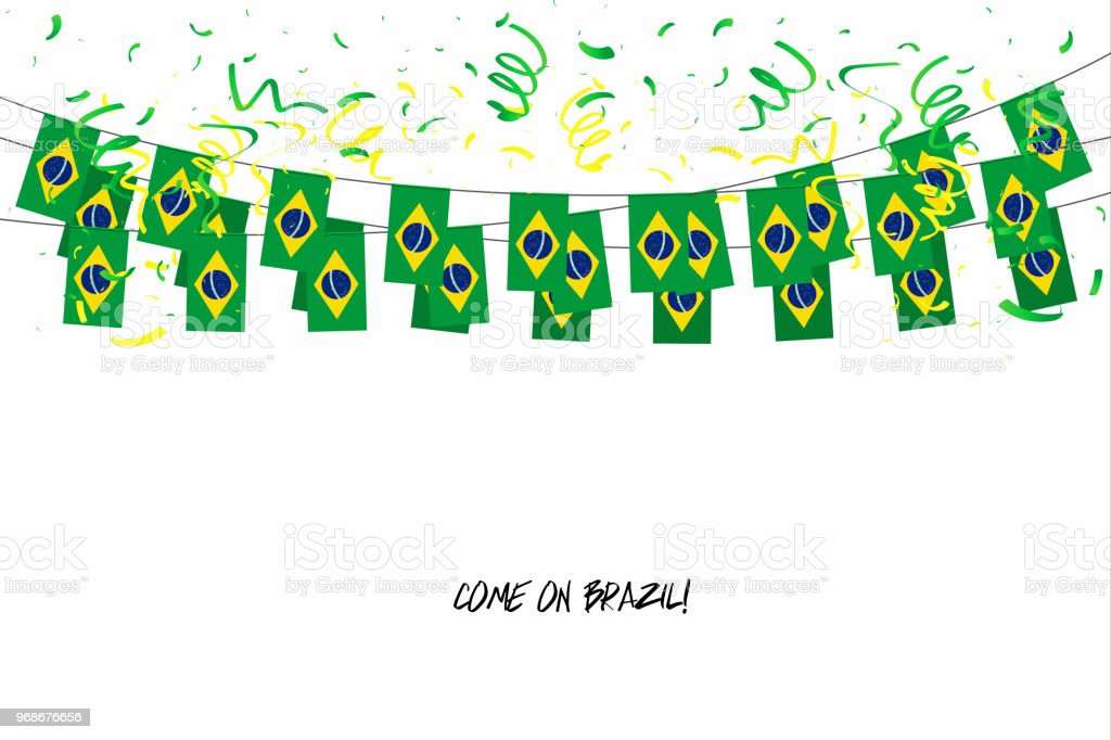 Brazil flags garland with confetti on white background, Hang bunting for Brazil celebration template banner. vector art illustration