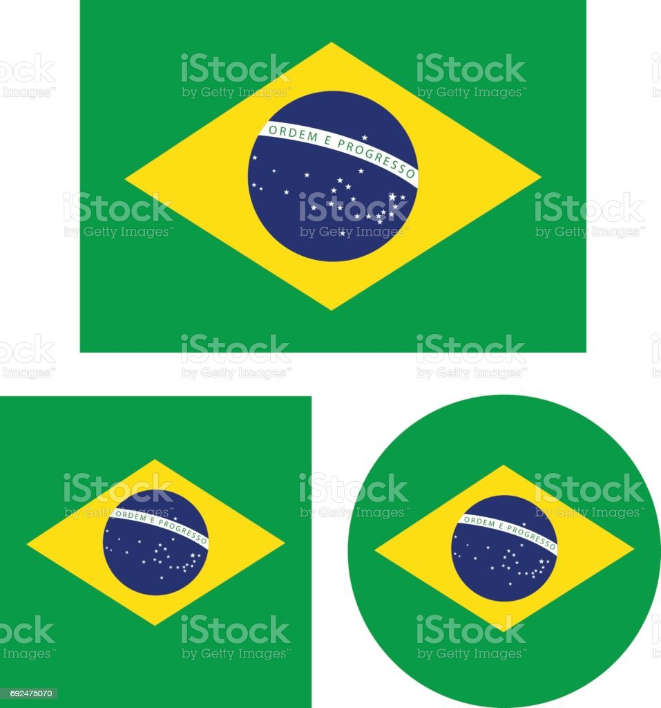 Brazil flags vector art illustration
