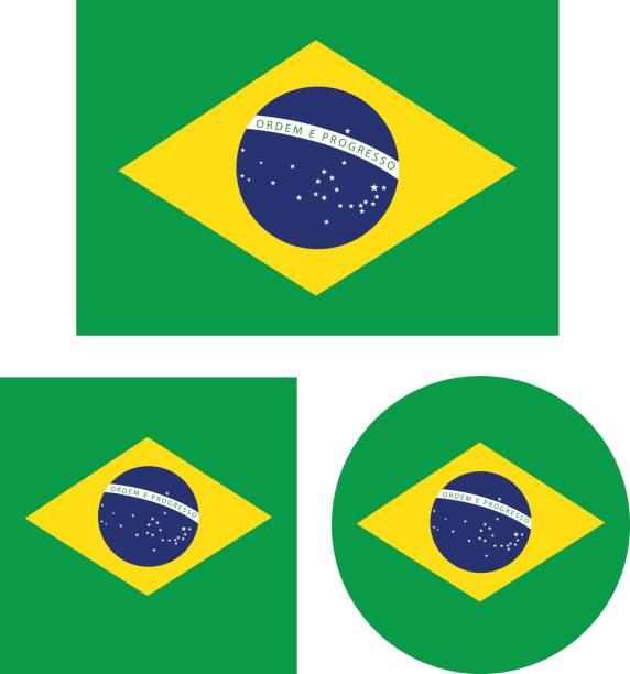 Brazil flags vector art illustration