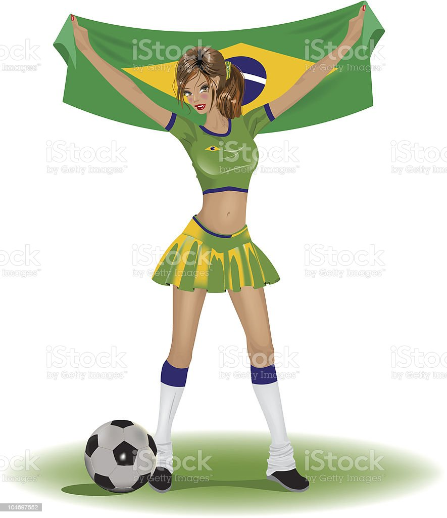 Brazil girl soccer fan royalty-free stock vector art