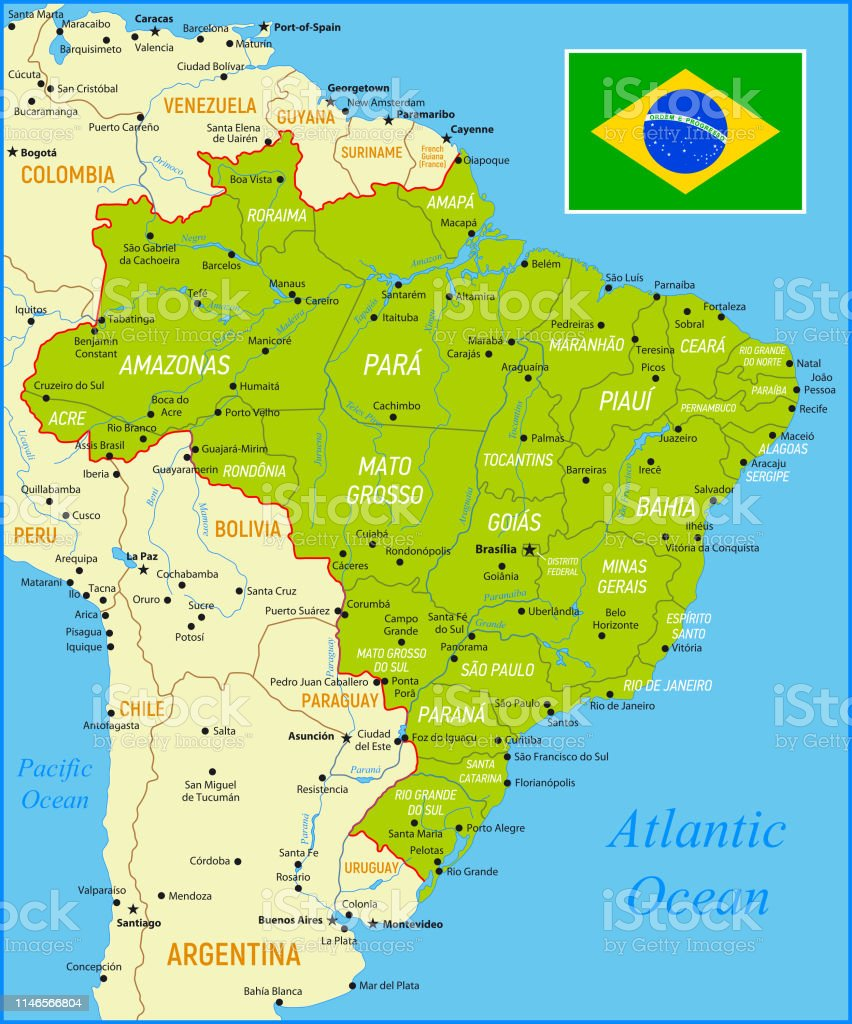 Brazil Map with National Flag and Geographical Borders