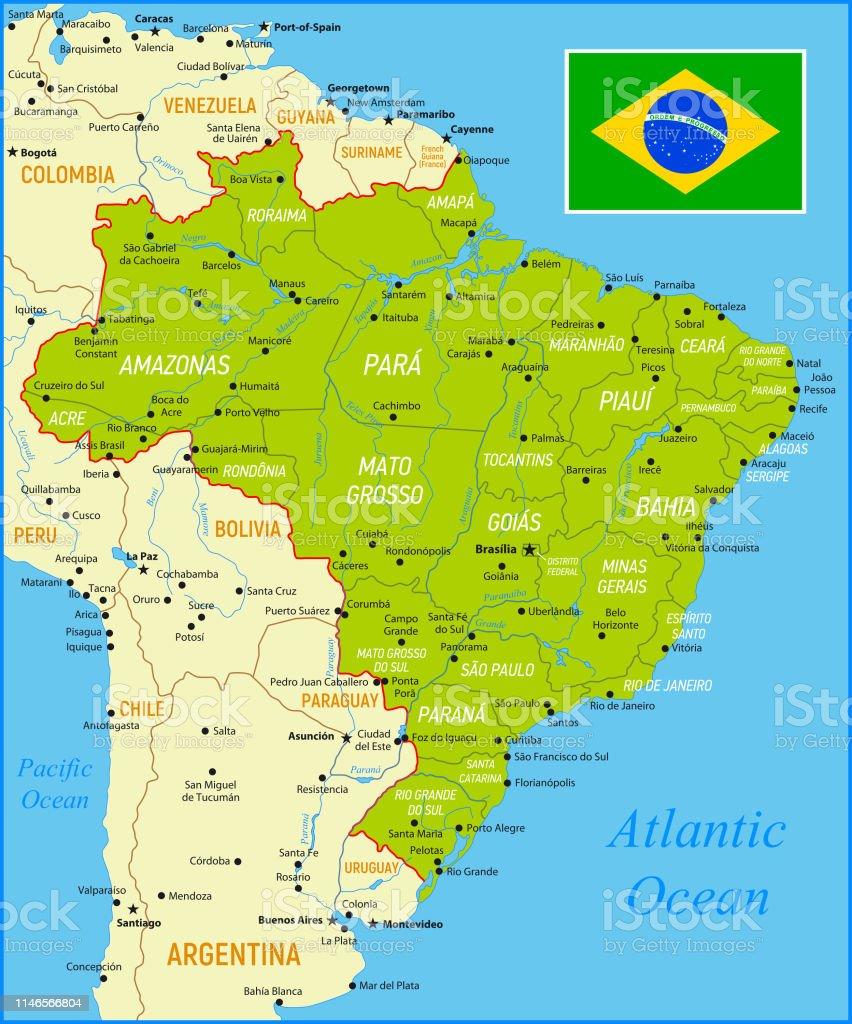 Brasiliens Green Map Mit Nationalflagge Grenzen Und Flüsse Stock ...