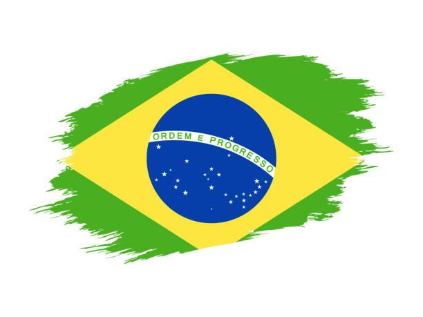Brazil - Grunge Flag Vector Flat Icon vector art illustration