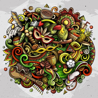 Brazil hand drawn cartoon doodles illustration. Funny design.