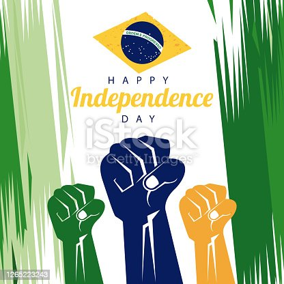 brazil happy independece day celebration with flag and hands fists painted vector illustration design