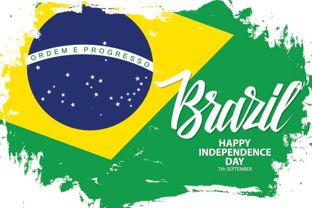 Brazil Happy Independence Day, 7 september greeting banner with brazilian national flag brush stroke background and hand lettering. vector art illustration