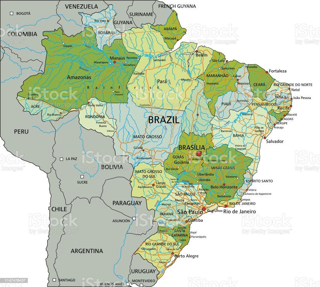 Physische Karte Lateinamerika.Brasilienhochdetaillierte Bearbeitbare Politische Karte Mit