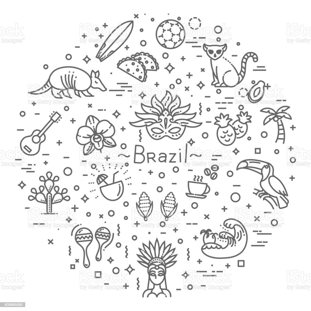 Brazil icon set. Flat design vector art illustration