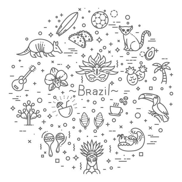 Brasilien-Icon-Set. Flaches design – Vektorgrafik