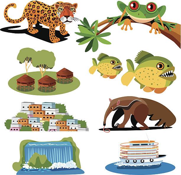 brasilien symbole - ameisenbär stock-grafiken, -clipart, -cartoons und -symbole