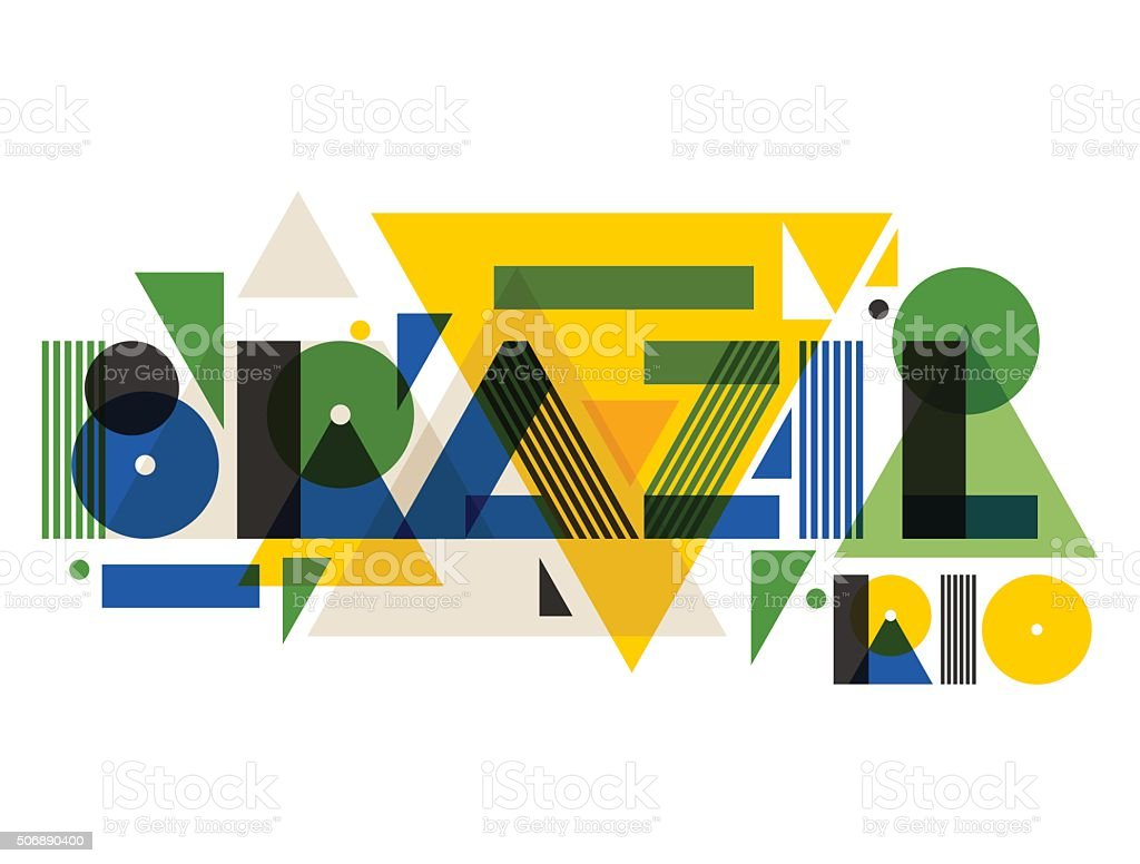 Brazil in abstract geometric style. Design for print on t vector art illustration