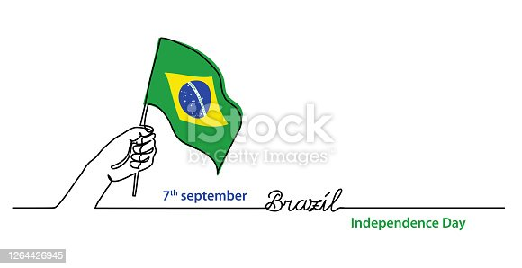 istock Brazil independence day simple web banner, background with flag and hand. One continuous line drawing with lettering Brazil 1264426945