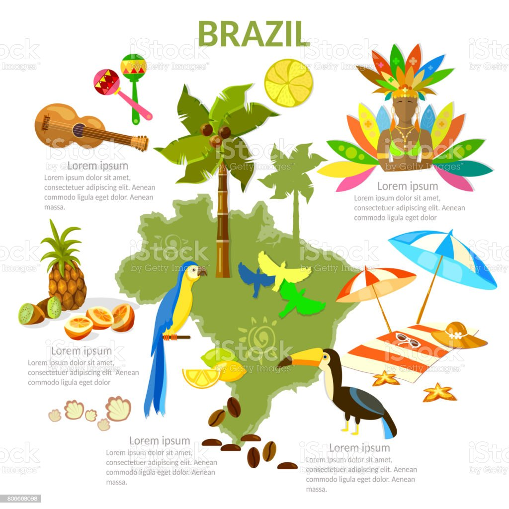 Brazil infographics. sights, culture, traditions, map, brazilian people. Travel Brazil template elements - arte vettoriale royalty-free di Adulto