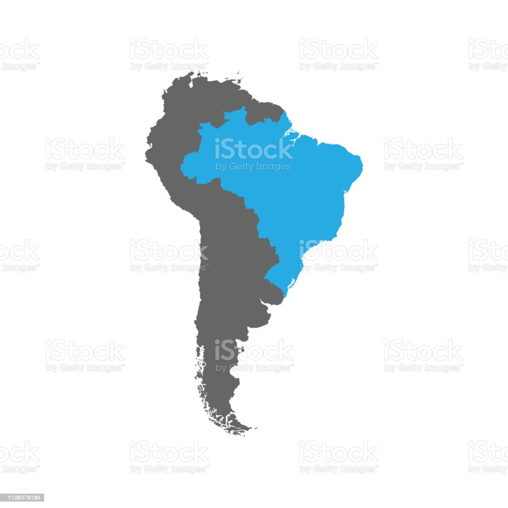 Picture of: Brazil Is Highlighted In Blue On The South America Stock Illustration Download Image Now Istock