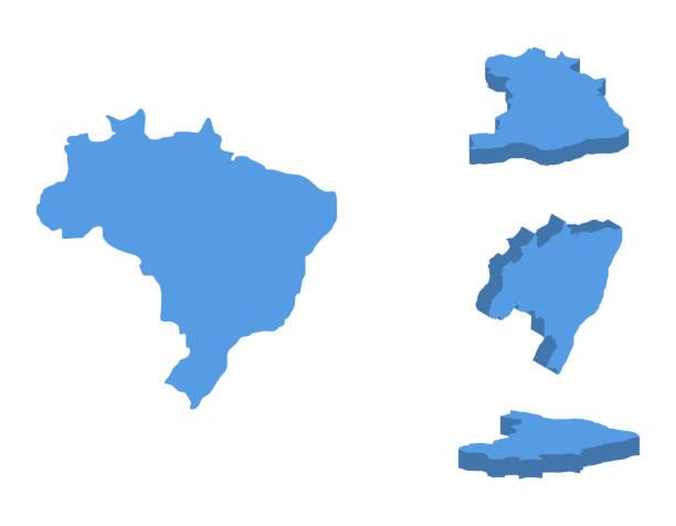 ilustrações, clipart, desenhos animados e ícones de ilustração em vetor isométrica mapa brasil, país isolado em um fundo branco. - brazil