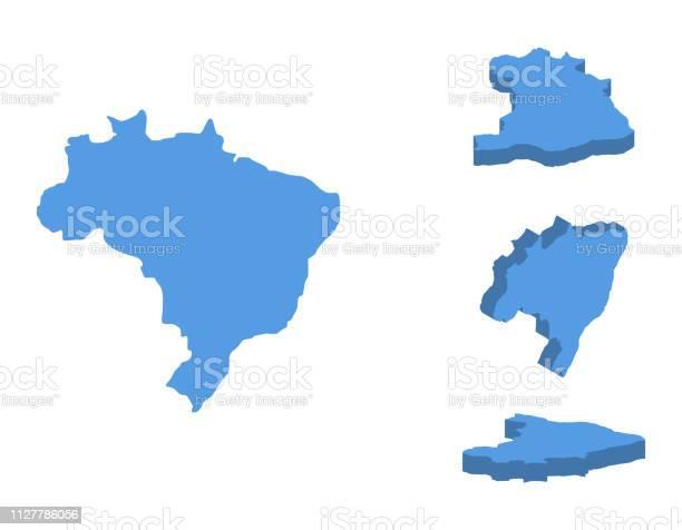 Vetores de Ilustração Em Vetor Isométrica Mapa Brasil País Isolado Em Um Fundo Branco e mais imagens de Abstrato