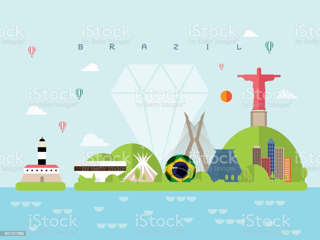 Brésil voyage de points de repère et vecteur voyage - Illustration vectorielle