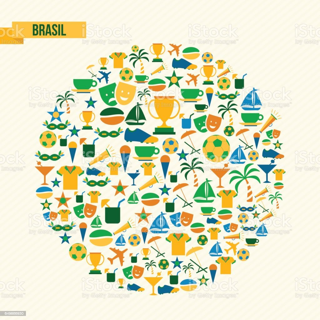Brazil lifestyle sport and culture icon set vector art illustration