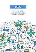 Brazil- line design brochure poster template A4