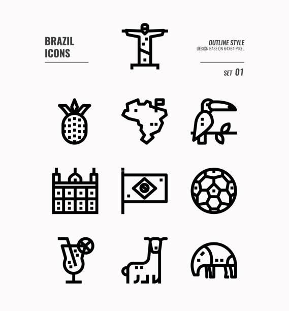 brasilien linie symbol gesetzt 1. - ameisenbär stock-grafiken, -clipart, -cartoons und -symbole