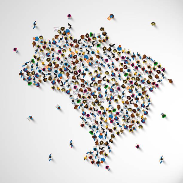 ilustraciones, imágenes clip art, dibujos animados e iconos de stock de muchas personas muestra mapa de brasil. - viaje a áfrica