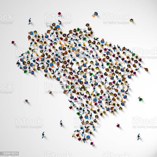 Vetores de Brasil Muitas Pessoas Sinal De Mapa e mais imagens de Abstrato