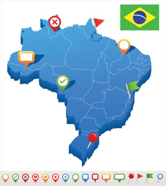 ilustrações, clipart, desenhos animados e ícones de ilustração de - mapa e bandeira – brasil - brazil map