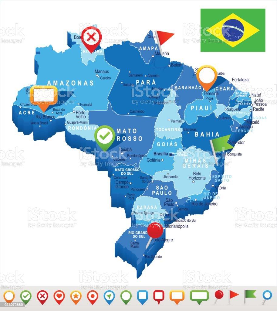 Brazil - map and flag – illustration vector art illustration